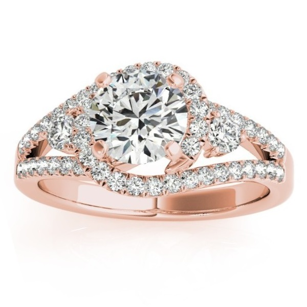Split Shank Halo Diamond Engagement Ring Setting 14k Rose Gold 0.75ct