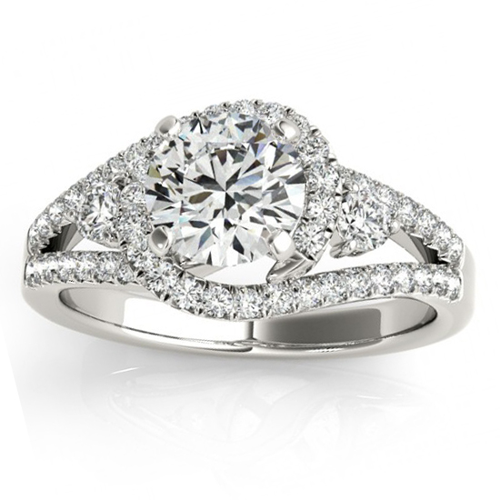 Diamond Split Shank Engagement Ring Twisted 18k White Gold (0.75ct)