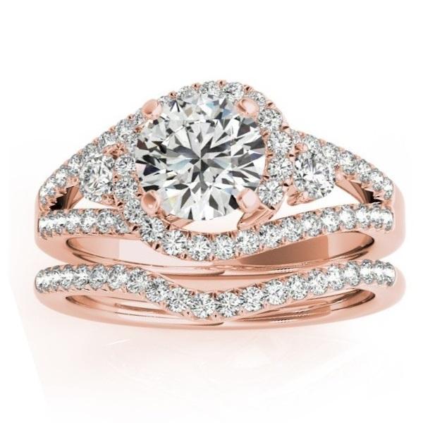 Diamond Engagement Ring Setting & Wedding Band 14k Rose Gold 1 00ct