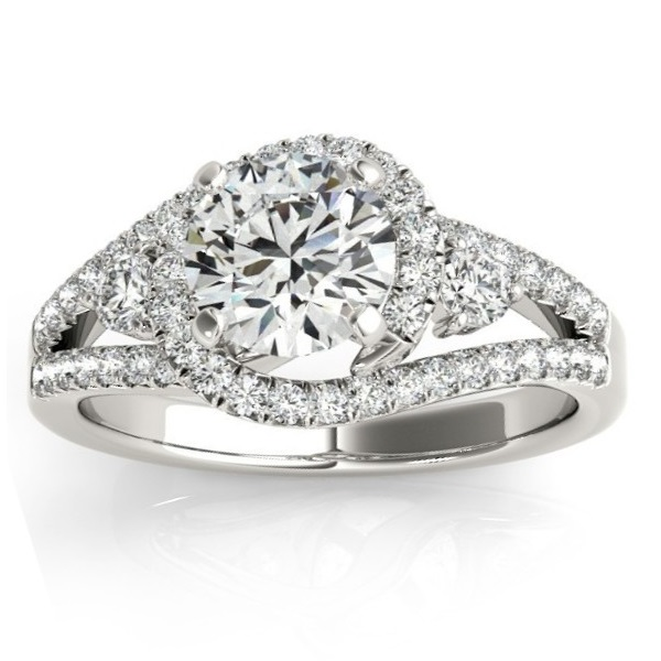 Diamond Engagement Ring Setting & Wedding Band 14k White Gold (1.00ct)