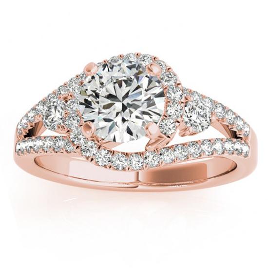 Diamond Split Shank Engagement Ring Setting & Band 18k Rose Gold 1.00ct