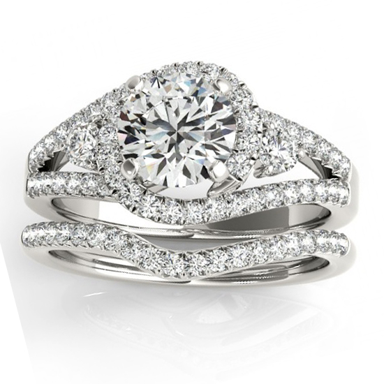 Diamond Split Shank Engagement Ring Setting & Band 18k W. Gold 1.00ct