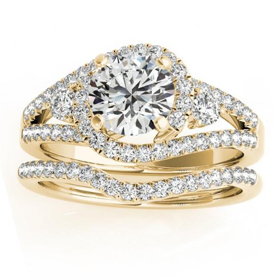 Diamond Split Shank Engagement Ring Setting & Band 18k Y. Gold 1.00ct