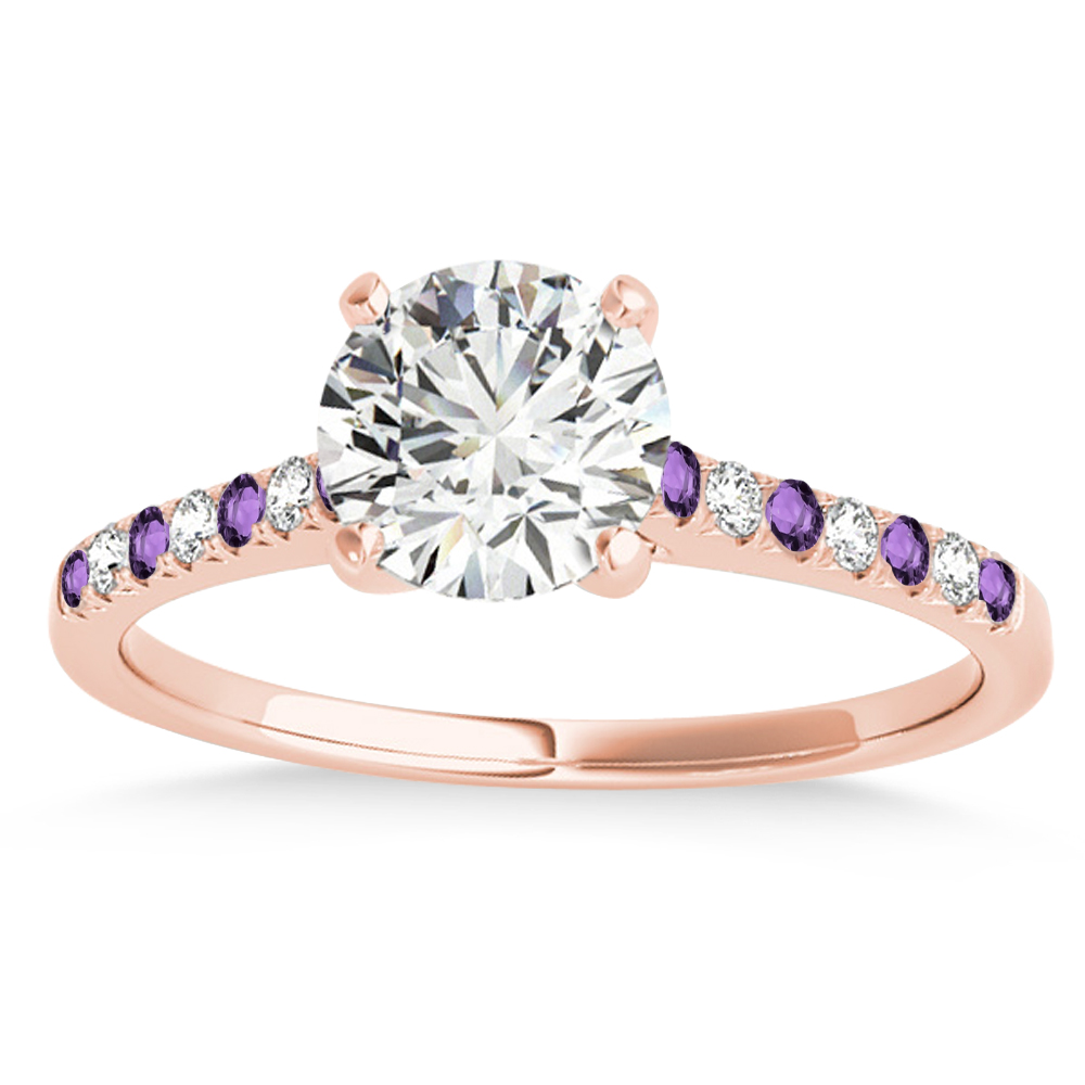 Diamond & Amethyst Single Row Engagement Ring 14k Rose Gold (0.11ct)