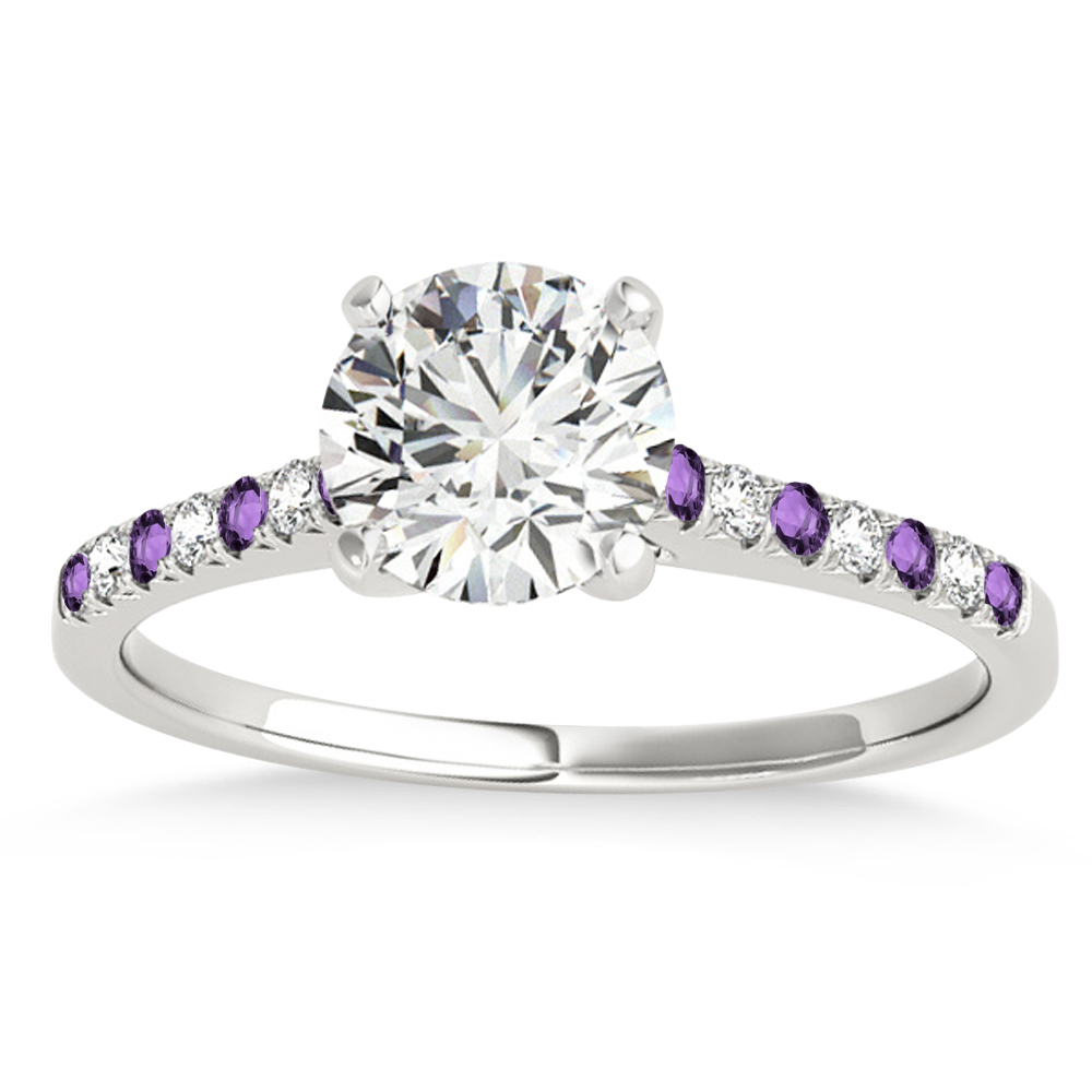 Diamond & Amethyst Single Row Engagement Ring Platinum (0.11ct)
