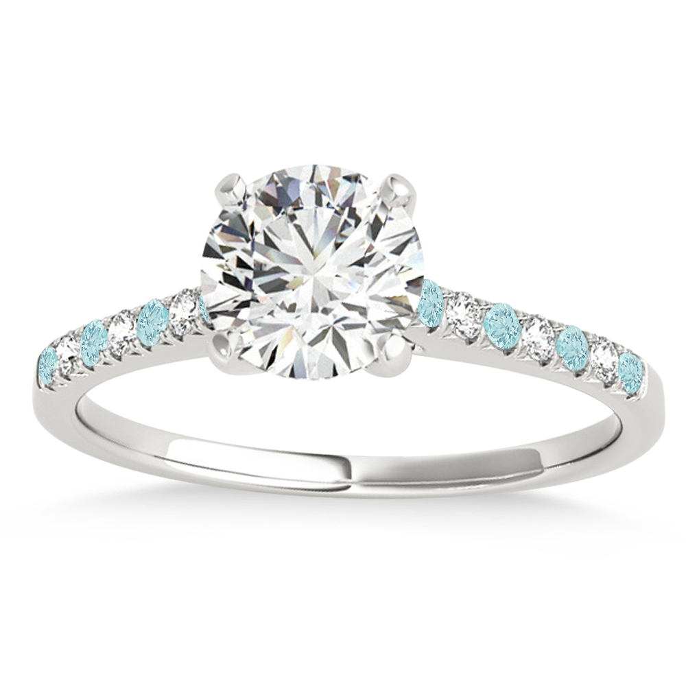 Diamond & Aquamarine Single Row Engagement Ring 14k White Gold (0.11ct)