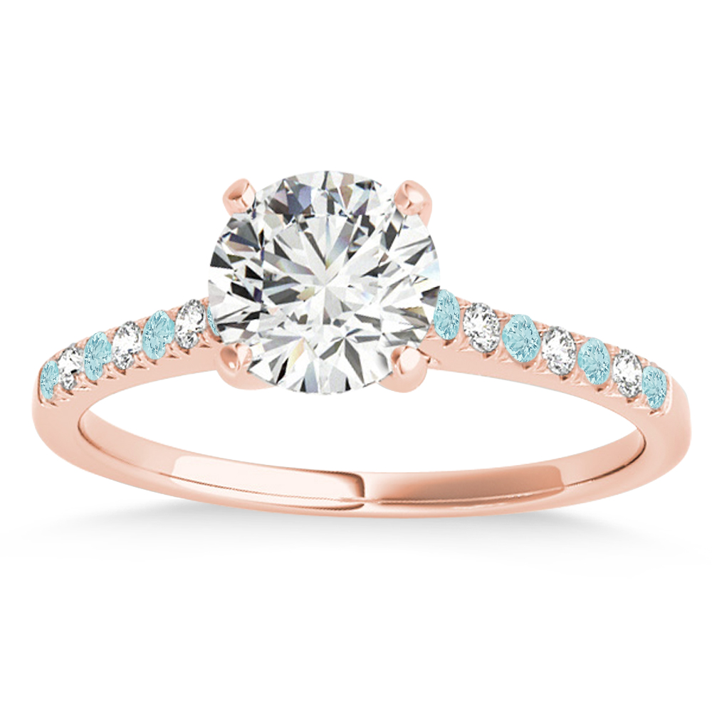 Diamond & Aquamarine Single Row Engagement Ring 18k Rose Gold (0.11ct)