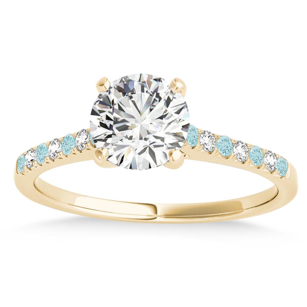 Diamond & Aquamarine Single Row Engagement Ring 18k Yellow Gold (0.11ct)