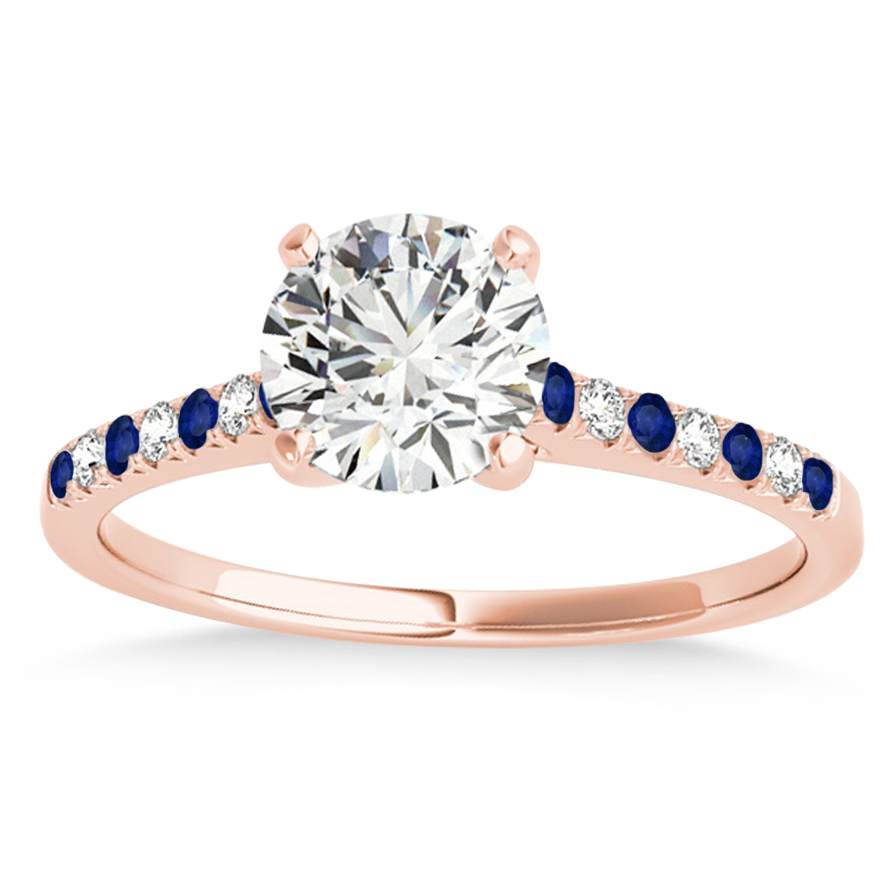 Diamond & Blue Sapphire Single Row Engagement Ring 14k Rose Gold (0.11ct)