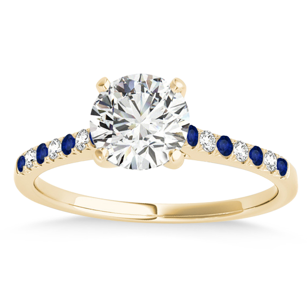 Diamond & Blue Sapphire Single Row Engagement Ring 14k Yellow Gold (0.11ct)