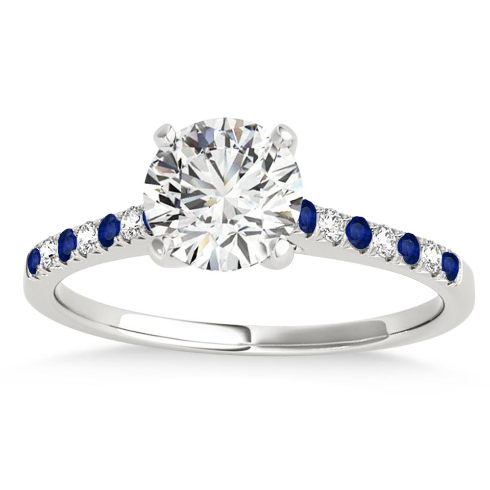 Diamond & Blue Sapphire Single Row Engagement Ring 18k White Gold (0.11ct)