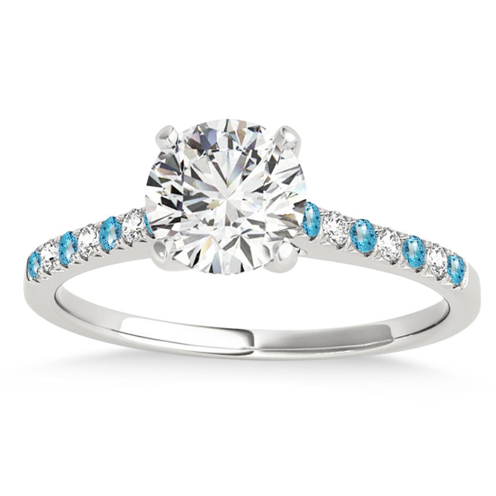 Diamond & Blue Topaz Single Row Engagement Ring Palladium (0.11ct)