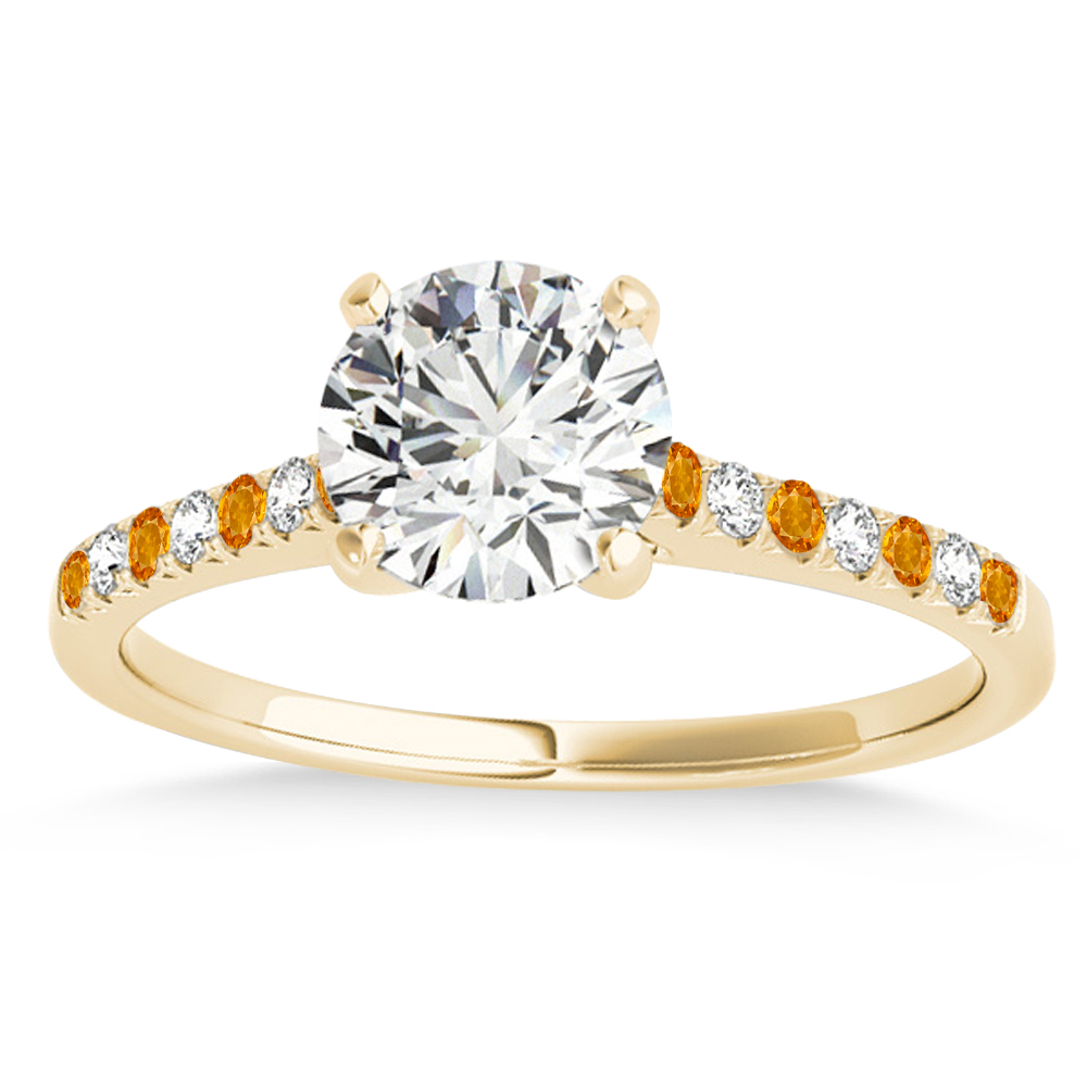 Diamond & Citrine Single Row Engagement Ring 14k Yellow Gold (0.11ct)