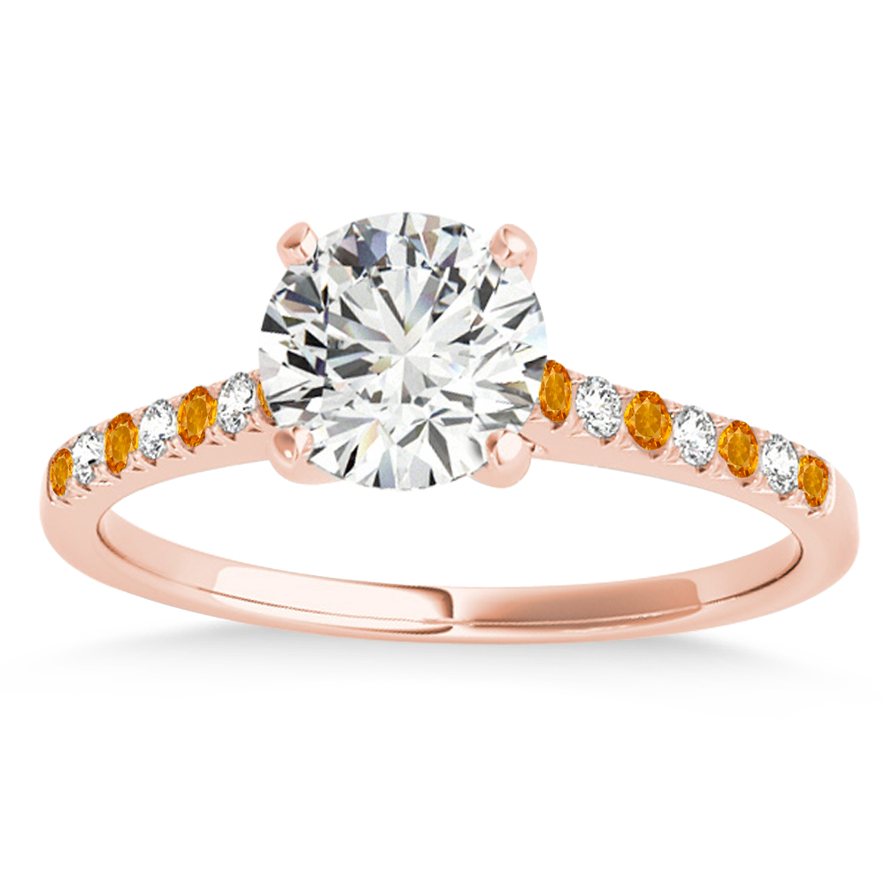 Diamond & Citrine Single Row Engagement Ring 18k Rose Gold (0.11ct)