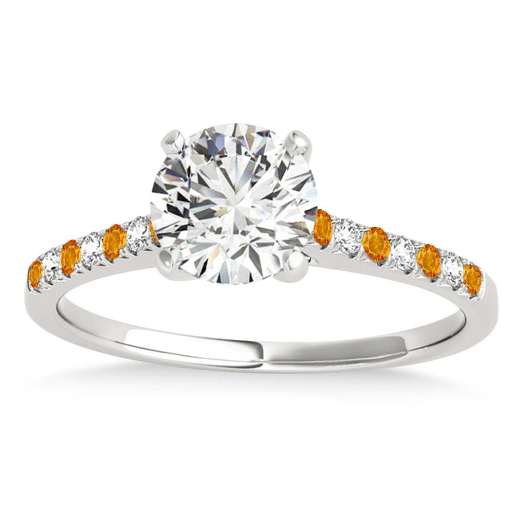 Diamond & Citrine Single Row Engagement Ring 18k White Gold (0.11ct)