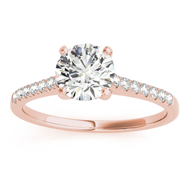 Diamond Single Row Engagement Ring 14k Rose Gold (0.11ct)