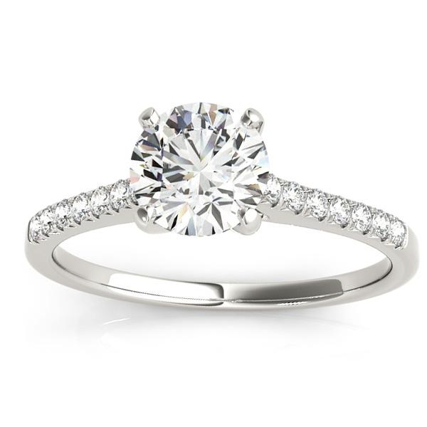 Diamond Single Row Engagement Ring 18k White Gold (0.11ct)