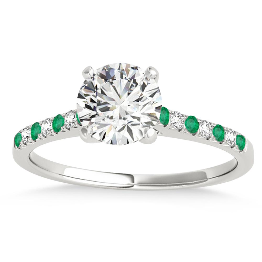 Diamond & Emerald Single Row Engagement Ring 14k White Gold (0.11ct)