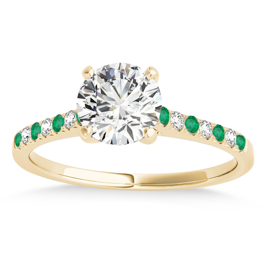 Diamond & Emerald Single Row Engagement Ring 18k Yellow Gold (0.11ct)