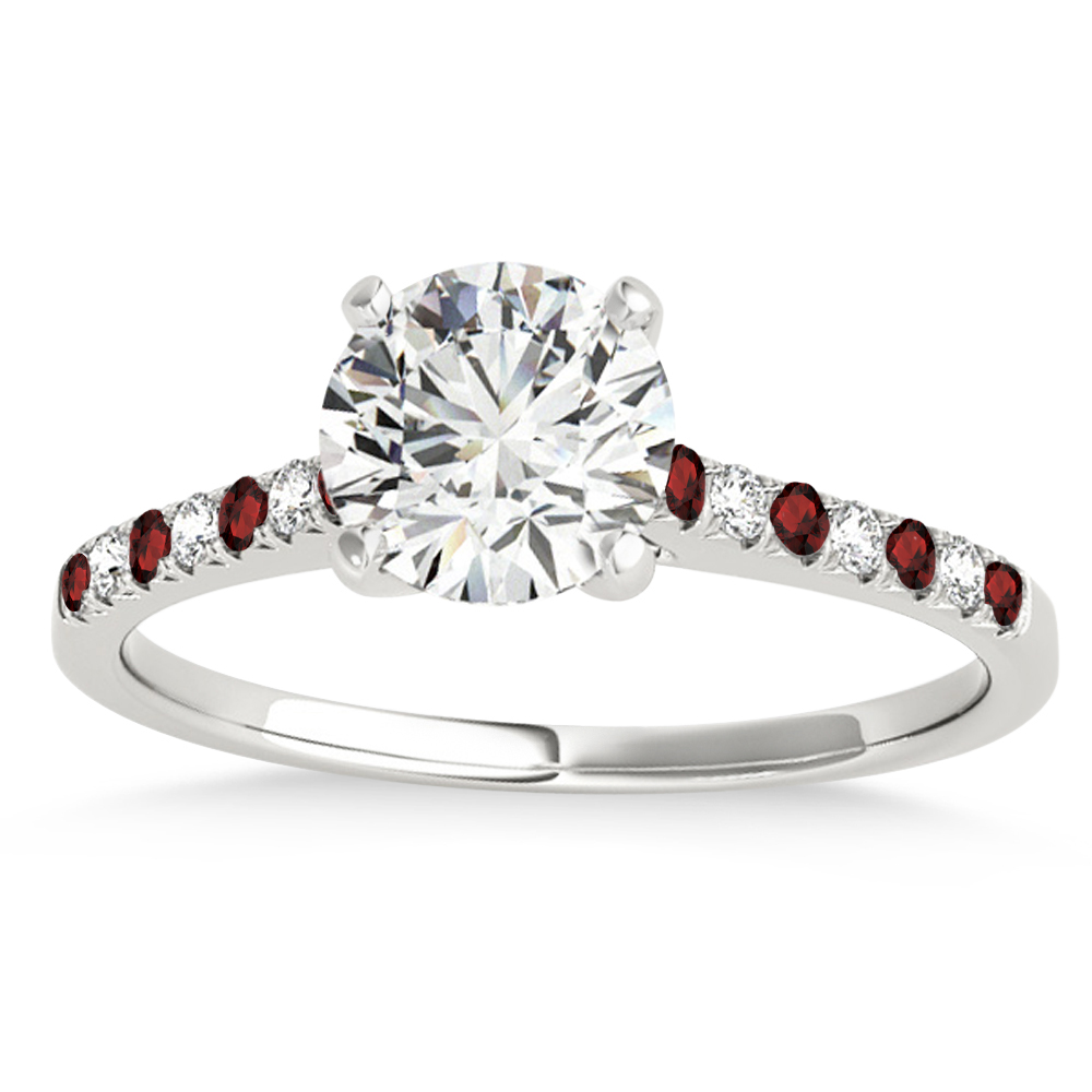 Diamond & Garnet Single Row Engagement Ring 14k White Gold (0.11ct)