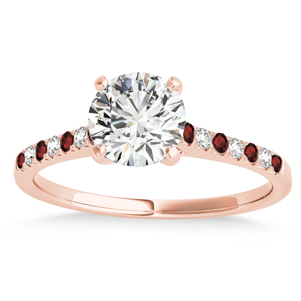 Diamond & Garnet Single Row Engagement Ring 18k Rose Gold (0.11ct)