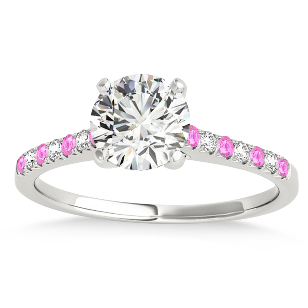 Diamond & Pink Sapphire Single Row Engagement Ring 14k White Gold (0.11ct)