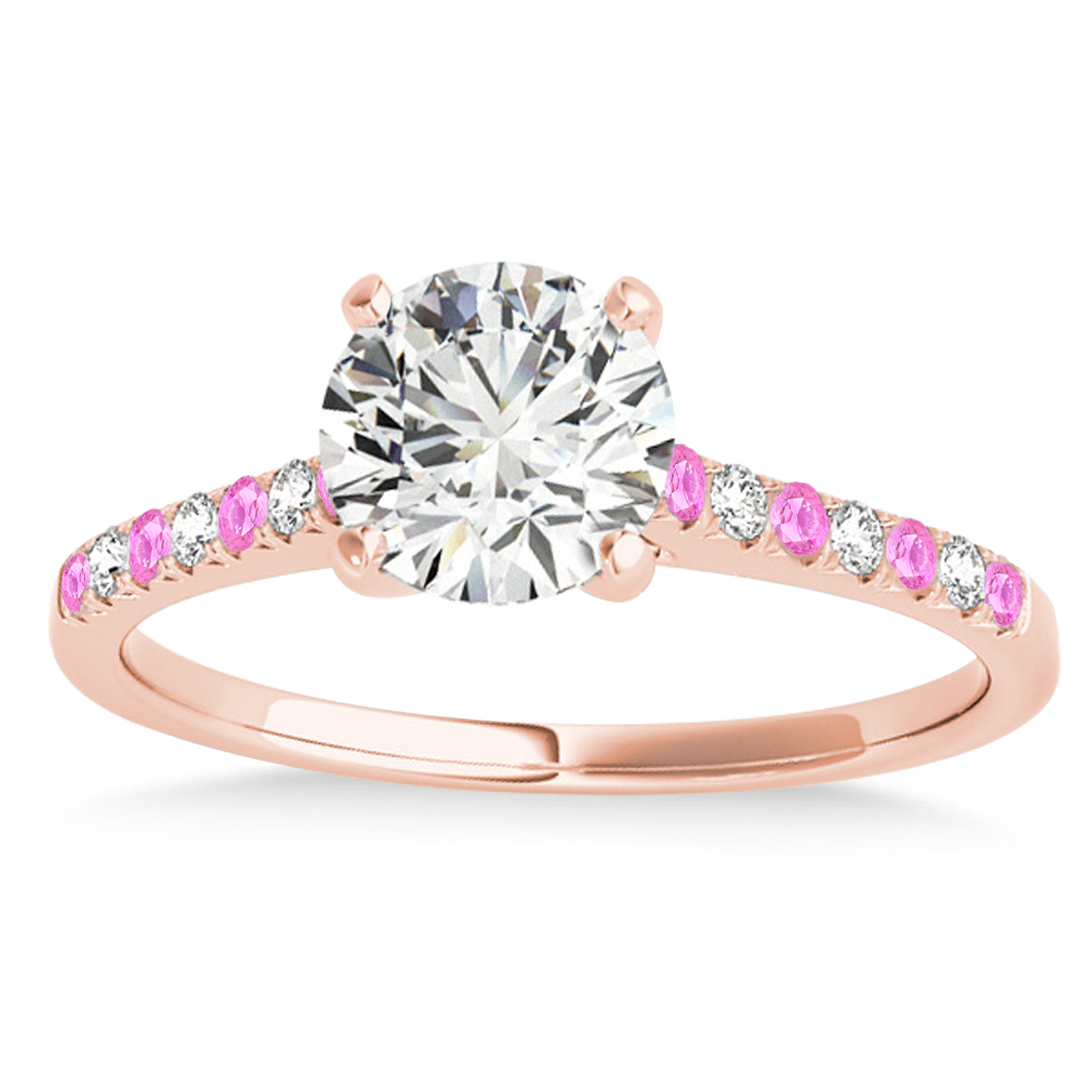 Diamond & Pink Sapphire Single Row Engagement Ring 18k Rose Gold (0.11ct)