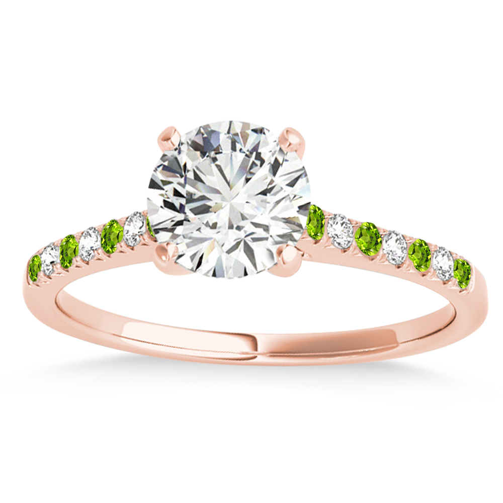 Diamond & Peridot Single Row Engagement Ring 14k Rose Gold (0.11ct)