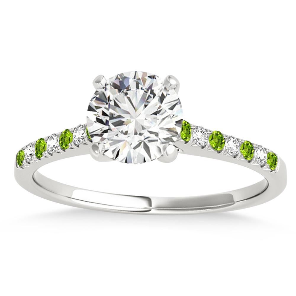 Diamond & Peridot Single Row Engagement Ring 14k White Gold (0.11ct)