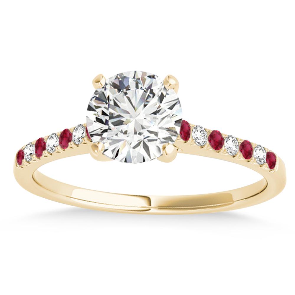 Diamond & Ruby Single Row Engagement Ring 18k Yellow Gold (0.11ct)