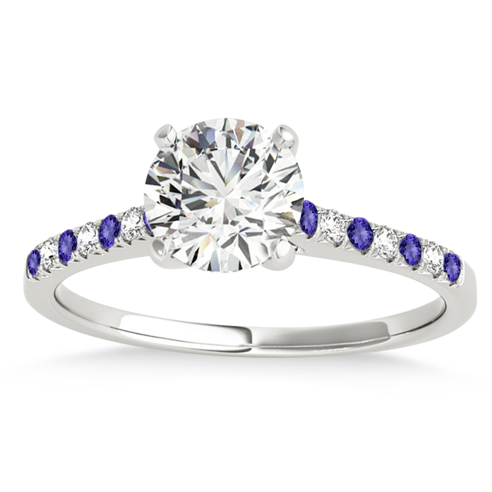 Diamond & Tanzanite Single Row Engagement Ring Palladium (0.11ct)