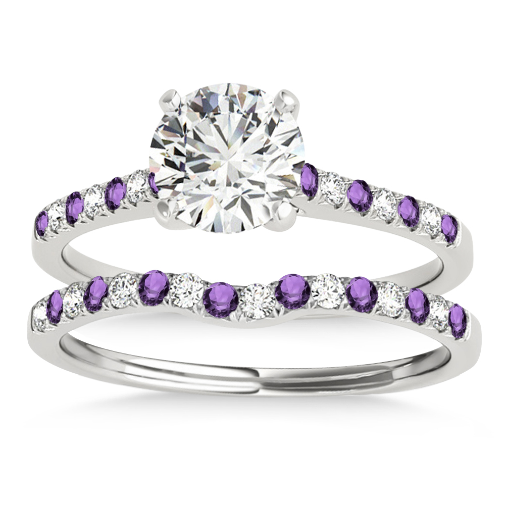 Diamond & Amethyst Single Row Bridal Set 14k White Gold (0.22ct)