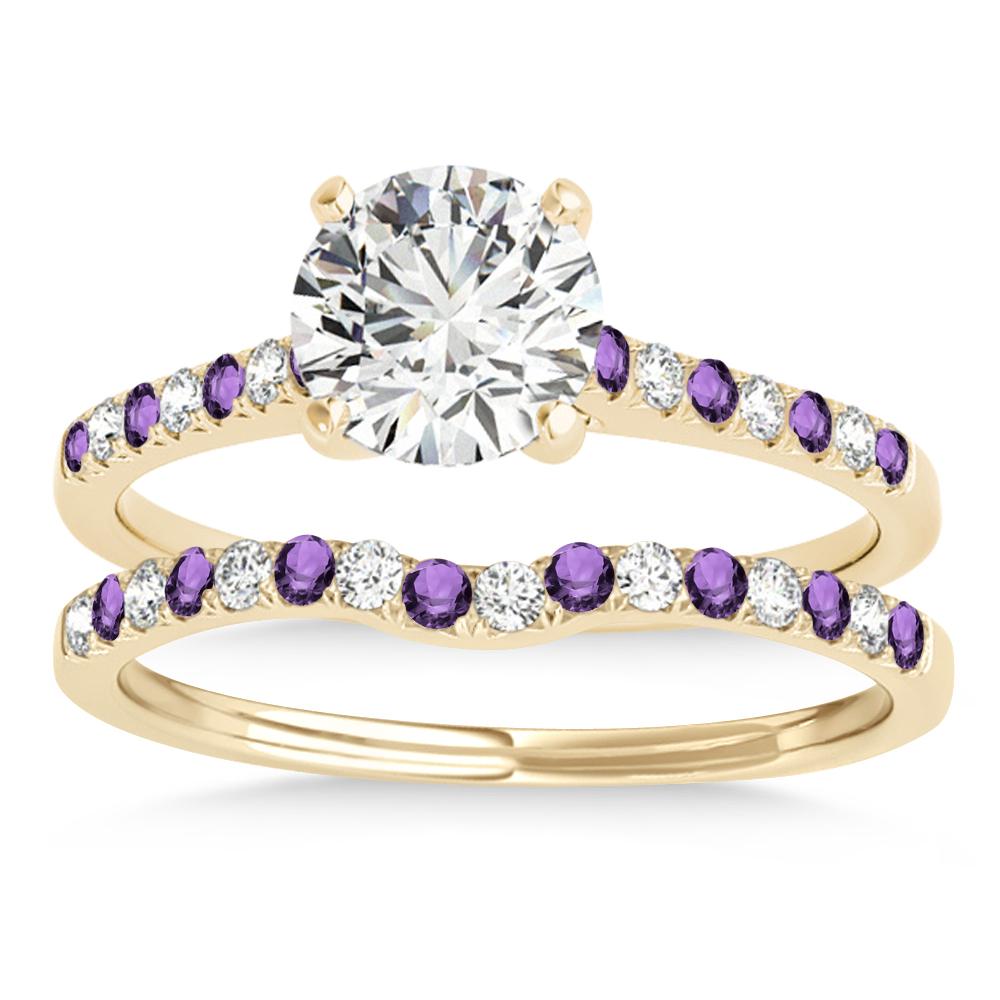 Diamond & Amethyst Single Row Bridal Set 18k Yellow Gold (0.22ct)