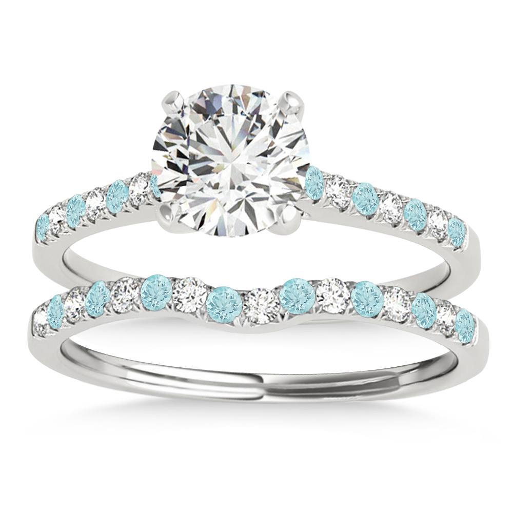 Diamond & Aquamarine Single Row Bridal Set 14k White Gold (0.22ct)