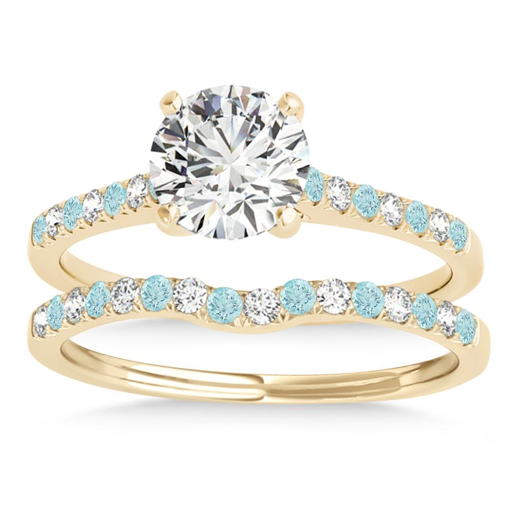 Diamond & Aquamarine Single Row Bridal Set 14k Yellow Gold (0.22ct)