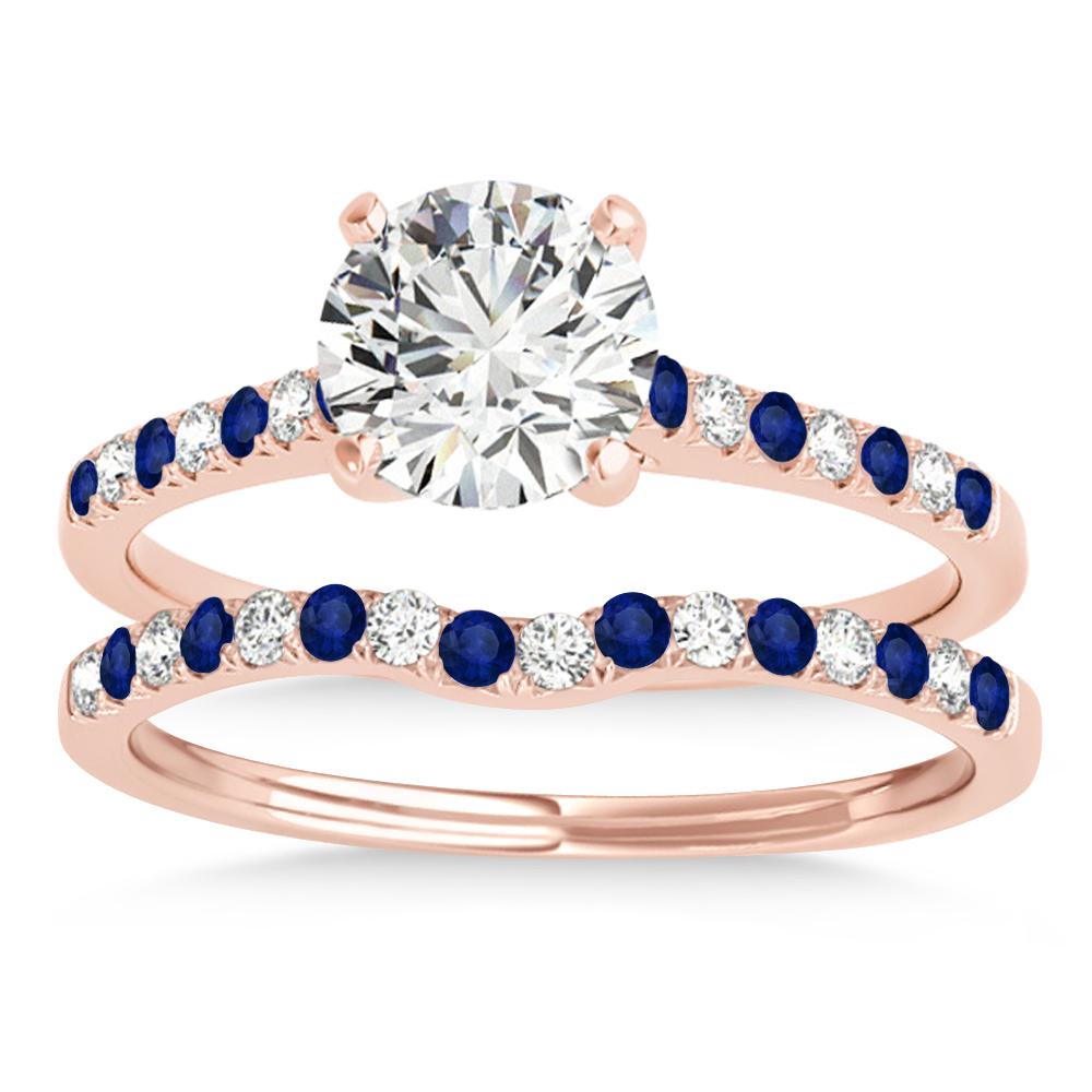 Diamond & Blue Sapphire Single Row Bridal Set 14k Rose Gold (0.22ct)