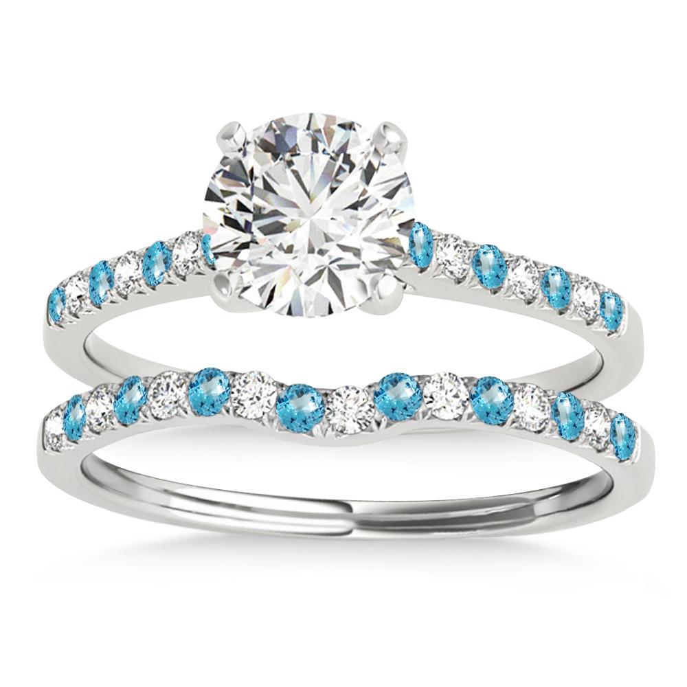 Diamond & Blue Topaz Single Row Bridal Set 14k White Gold (0.22ct)