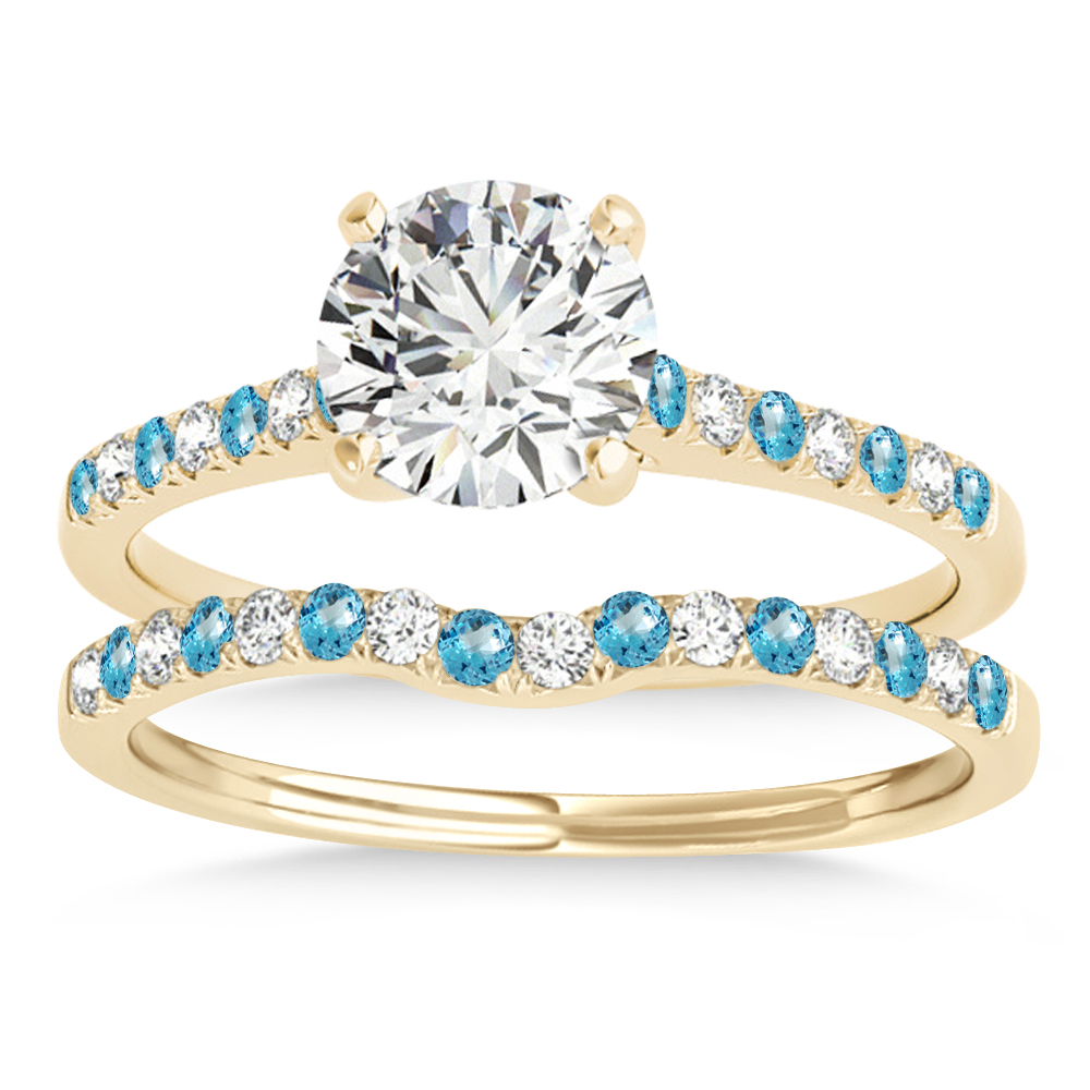 Diamond & Blue Topaz Single Row Bridal Set 18k Yellow Gold (0.22ct)