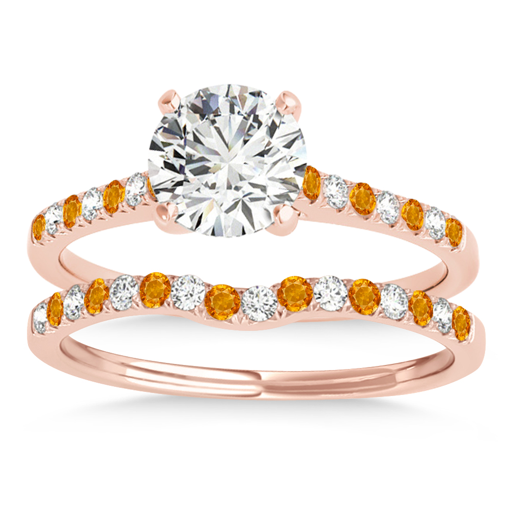 Diamond & Citrine Single Row Bridal Set 14k Rose Gold (0.22ct)