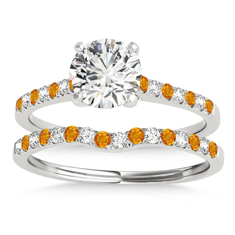 Diamond & Citrine Single Row Bridal Set 14k White Gold (0.22ct)