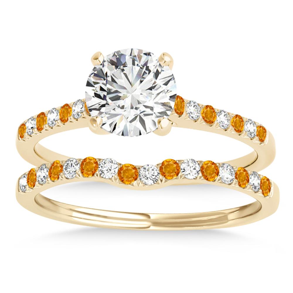 Diamond & Citrine Single Row Bridal Set 18k Yellow Gold (0.22ct)