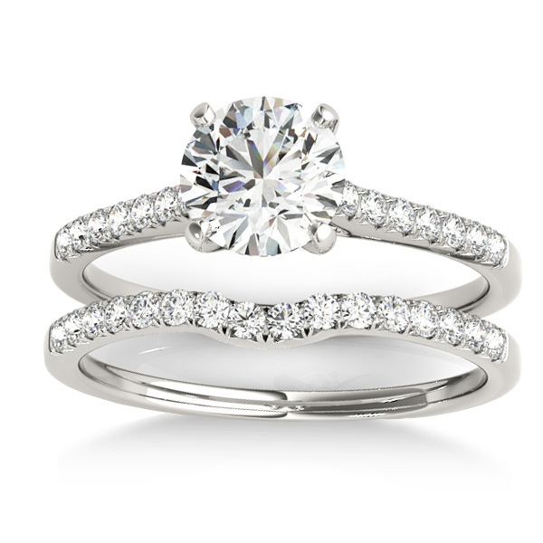 Diamond Single Row Bridal Set 14k White Gold (0.22ct)