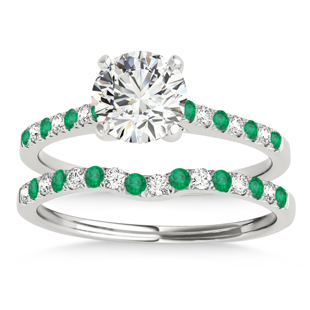 Diamond & Emerald Single Row Bridal Set 14k White Gold (0.22ct)