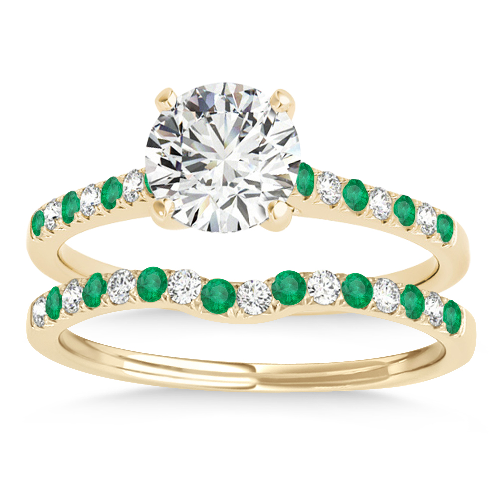 Diamond & Emerald Single Row Bridal Set 14k Yellow Gold (0.22ct)