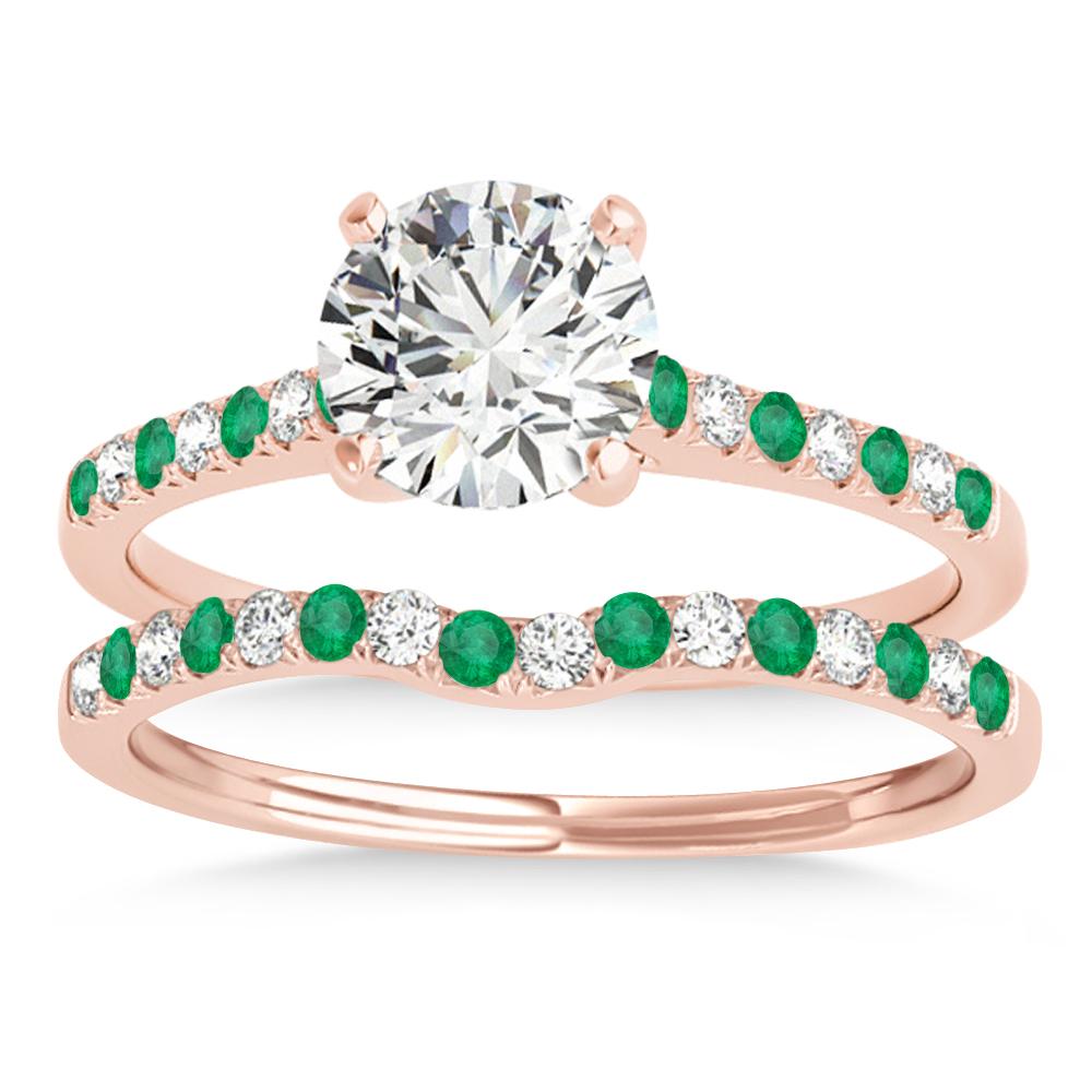 Diamond & Emerald Single Row Bridal Set 18k Rose Gold (0.22ct)