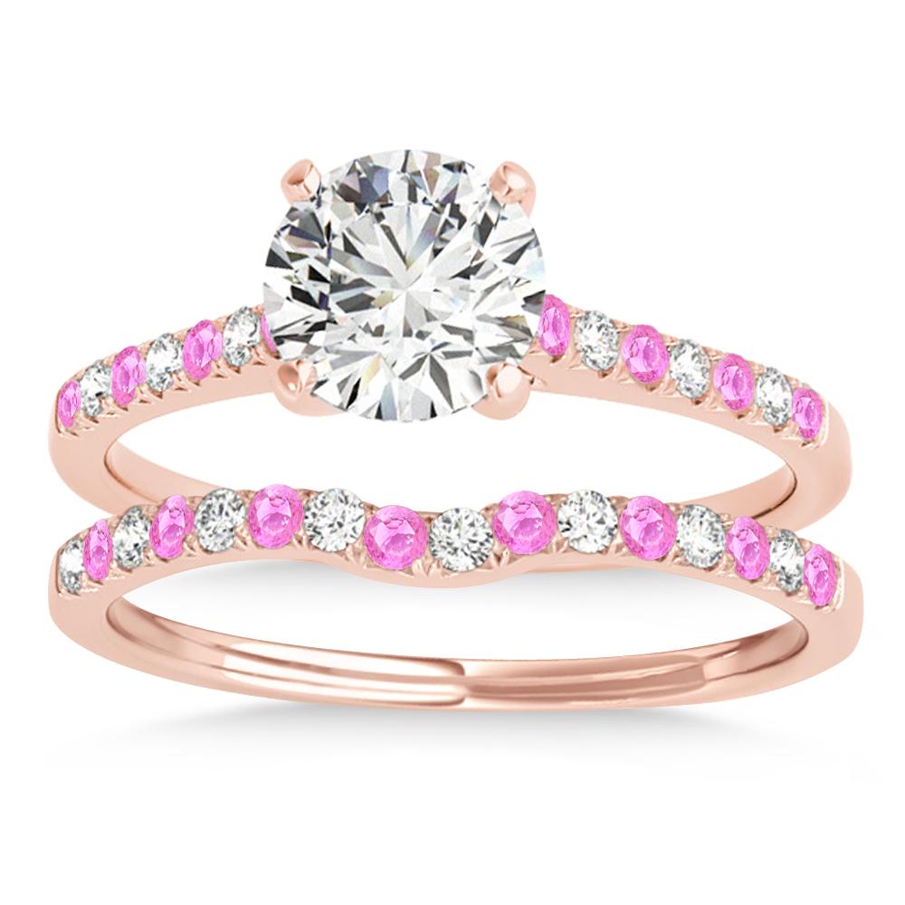 Diamond & Pink Sapphire Single Row Bridal Set 14k Rose Gold (0.22ct)