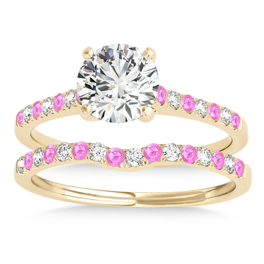 Diamond & Pink Sapphire Single Row Bridal Set 14k Yellow Gold (0.22ct)