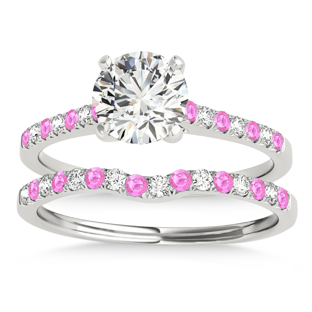 Diamond & Pink Sapphire Single Row Bridal Set Platinum (0.22ct)