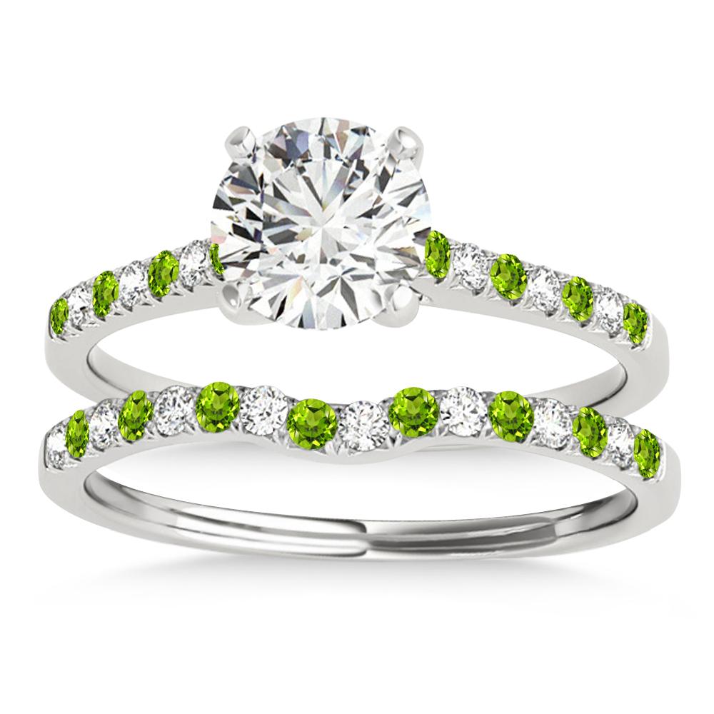 Diamond & Peridot Single Row Bridal Set Palladium (0.22ct)