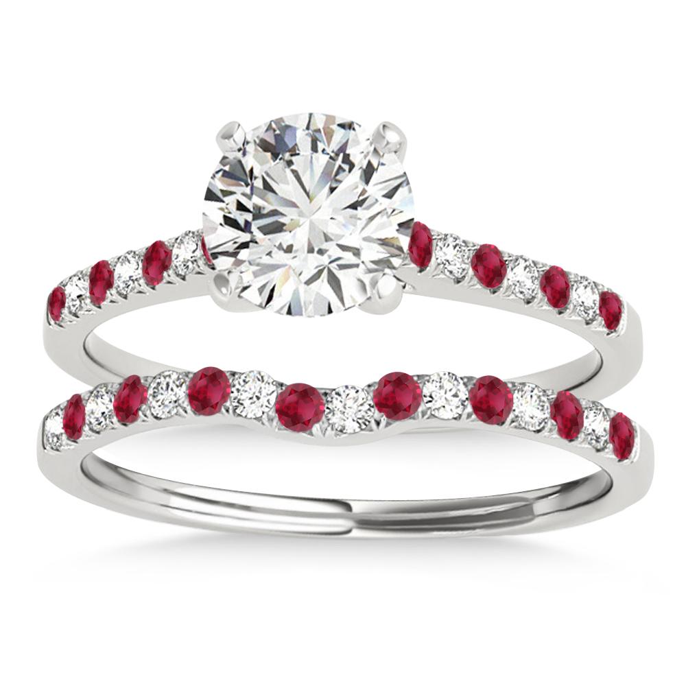 Diamond & Ruby Single Row Bridal Set Platinum (0.22ct)